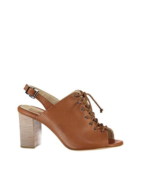Elle Kalın Topuklu Ayakkabı Taba